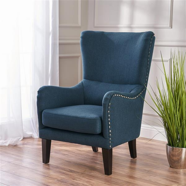 Best Selling Home Decor Lorenzo Fabric Accent Chair - Dark Blue