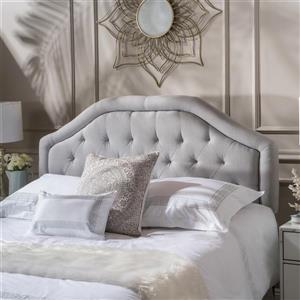 Tête de lit en tissu capitonné Felix de Best Selling Home Decor, grand lit, gris/beige