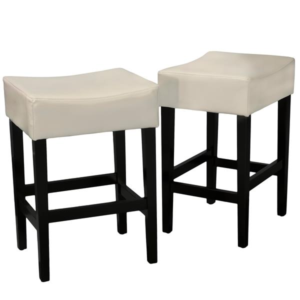Best Selling Home Decor Fern Leather Counter Stool - Off-white - Set of 2