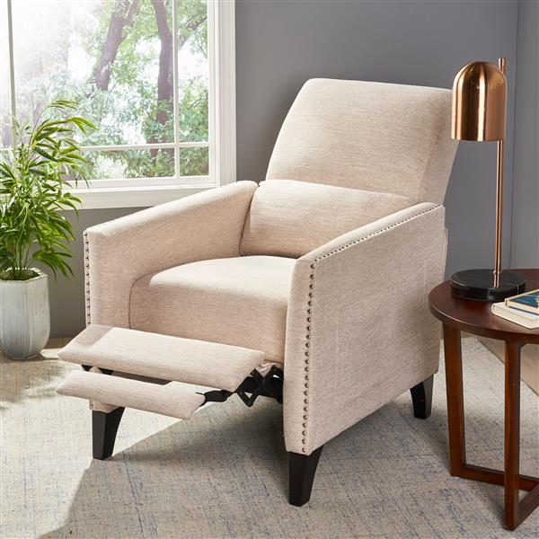 Best Selling Home Decor Irene Contemporary Fabric Recliner - Off-white