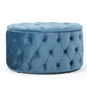 Ottomane en velours Cassie de Best Selling Home Decor, bleu