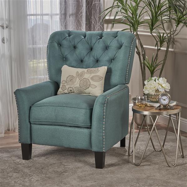 Fauteuil inclinable en tissu Jasmine de Best Selling Home Decor, turquoise