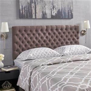 Tête de lit en tissu capitonné Rutherford de Best Selling Home Decor, grand lit, marron