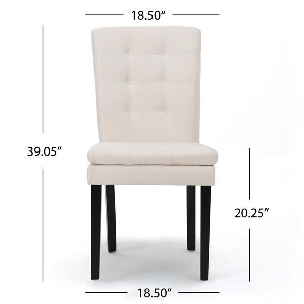Chaise de salle à manger Norfolk de Best Selling Home Decor, tissu blanc, ens. de 2