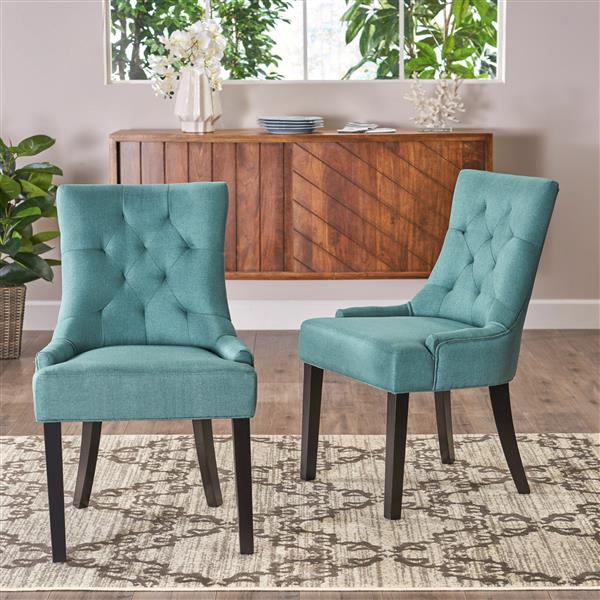 Best Selling Home Decor Angelique Fabric Dining Chair - Blue - Set of 2