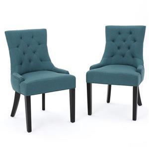 Chaise de salle à manger Angelique de Best Selling Home Decor, tissu bleu, ens. de 2