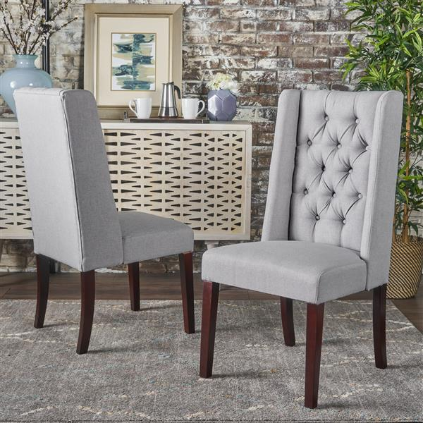 Best Selling Home Decor Pensacola Fabric Dining Chair - Light Gray - Set of 2