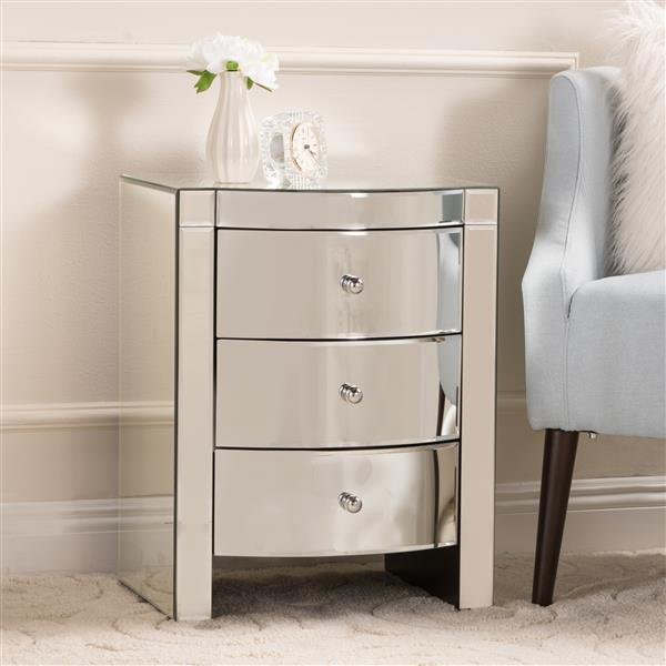Best Selling Home Decor Estelle Side Table - 3-Drawer - 18.5-in x 25-in - Silver