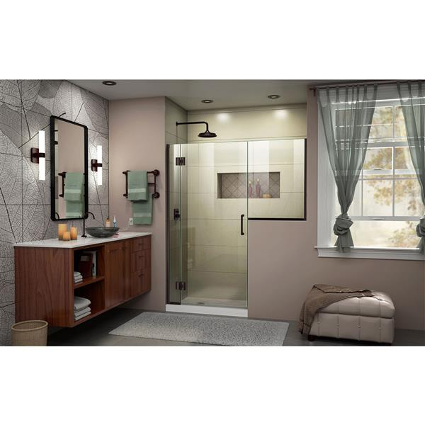 DreamLine Unidoor-X Frameless Shower Door - 55.5-in x 72-in - Bronze