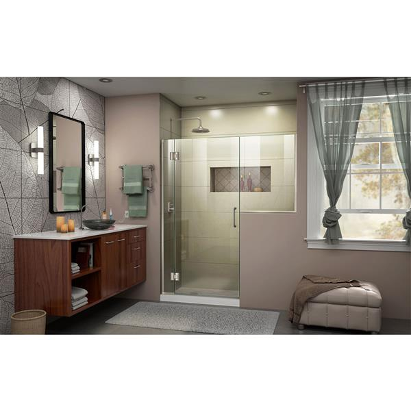 DreamLine Unidoor-X Shower Door - 70.5-in x 72-in - Brushed Nickel
