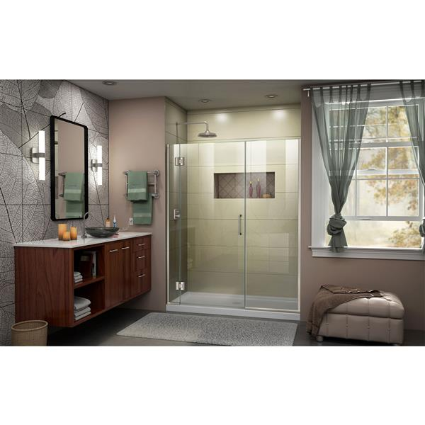 DreamLine Unidoor-X Frameless Shower Door - 63.5-in x 72-in - Nickel