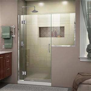 Porte de douche sans cadre Unidoor-X DreamLine, 55-55,5 po x 72 po, chrome