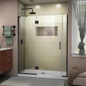 Porte de douche en verre Unidoor-X DreamLine, 53,5-54 po x 72 po, noir