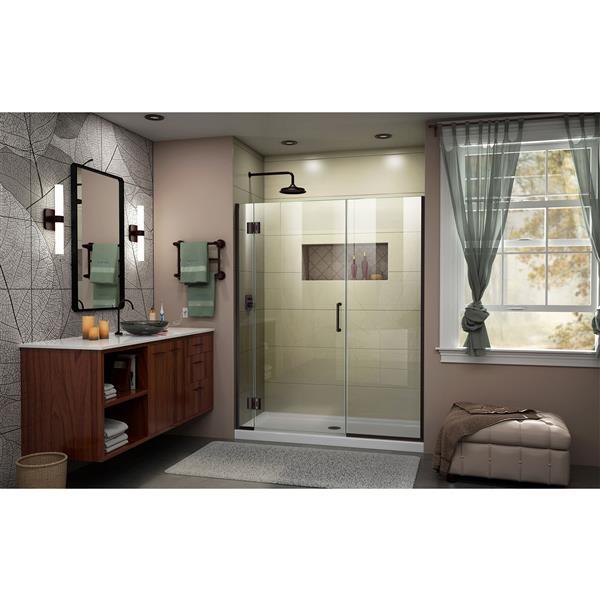 Porte de douche Unidoor-X DreamLine, 43,5-44 po x 72 po, bronze huilé