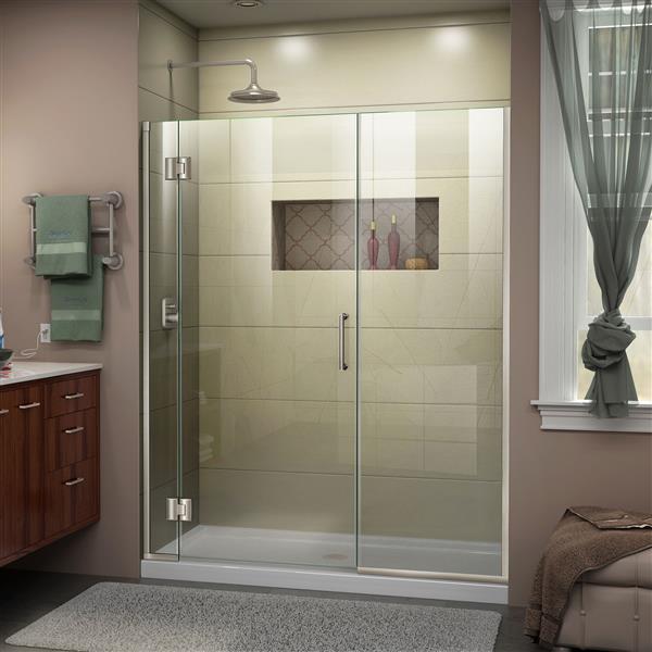 DreamLine Unidoor-X Shower Door - 64-in x 72-in - Brushed Nickel