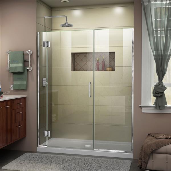 DreamLine Unidoor-X Shower Door - 64.5-in x 72-in - Chrome