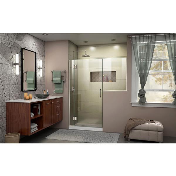 DreamLine Unidoor-X Frameless Shower Door - 62.5-in x 72-in - Nickel