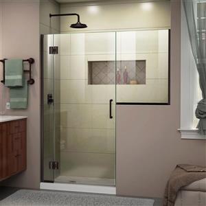 Porte de douche sans cadre Unidoor-X DreamLine, 55-55,5 po x 72 po, bronze