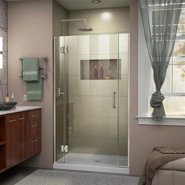 DreamLine Unidoor-X Shower Door - 40-in x 72-in - Brushed Nickel