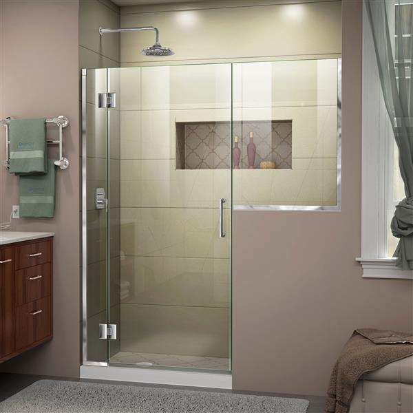 DreamLine Unidoor-X Shower Door - 53.5-in x 72-in x 36-in - Chrome