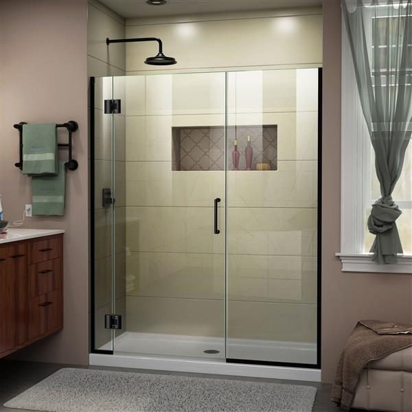 DreamLine Unidoor-X Frameless Shower Door - 56.5-in x 72-in - Satin Black