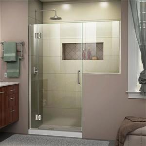 Porte de douche simple Unidoor-X DreamLine, 53-53,5 po x 72 po, nickel