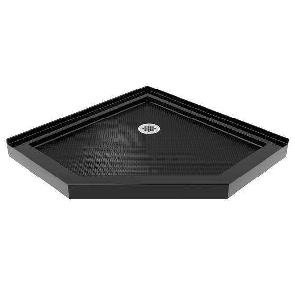 DreamLine SlimLine Neo-Angle Corner Shower Base - 40-in x 40-in - Black
