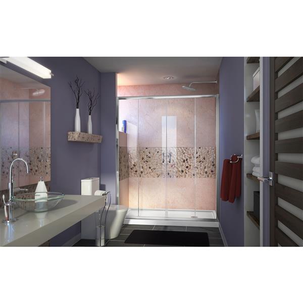 DreamLine Visions Alcove Shower Kit - 36-in x 60-in - Right Drain - Chrome