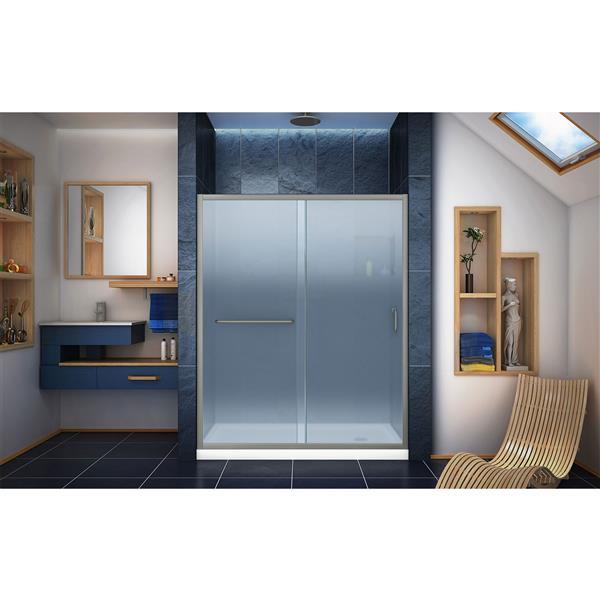 DreamLine Infinity-Z Alcove Shower Kit - 32-in - Right Drain - Nickel