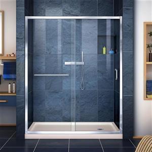 Ensemble de douche avec cadre Infinity-Z de DreamLine, 30 po x 60 po, chrome