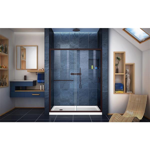 DreamLine Infinity-Z Alcove Shower Kit - 34-in- Left Drain - Dark Bronze