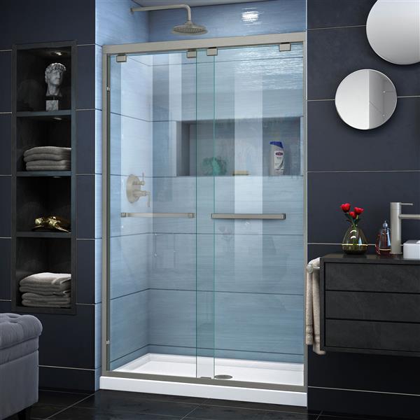 DreamLine Encore Alcove Shower Kit - 34-in - Center Drain - Nickel