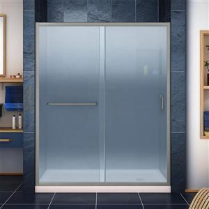 Base et porte de douche Infinity-Z de DreamLine, 30 po x 60 po, nickel brossé