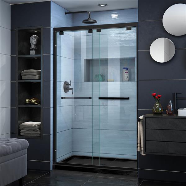 DreamLine Encore Alcove Shower Kit - 34-in x 48-in - Center Drain - Black