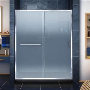 Base et porte de douche givrée Infinity-Z de DreamLine, 34 po x 60 po, chrome