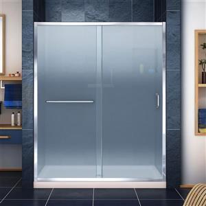 Porte de douche et base DreamLine, 36 po x 60 po, chrome