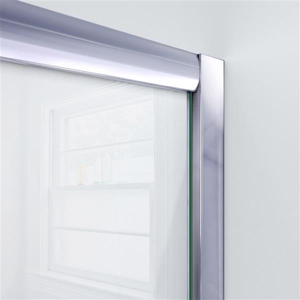 DreamLine Visions Alcove Shower Kit - 36-in- Left Drain - Brushed Nickel
