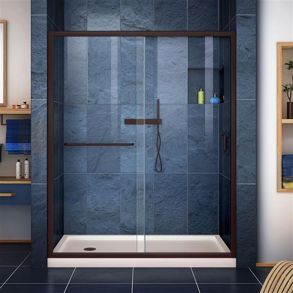 DreamLine Infinity-Z Alcove Shower Kit - 34-in x 60-in - Left Drain - Bronze