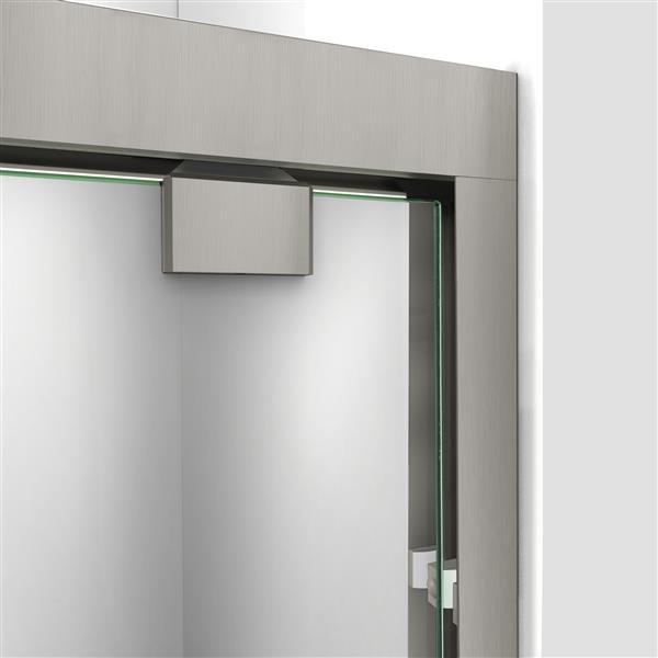 DreamLine Encore Alcove Shower Kit - 34-in- Right Drain - Brushed Nickel
