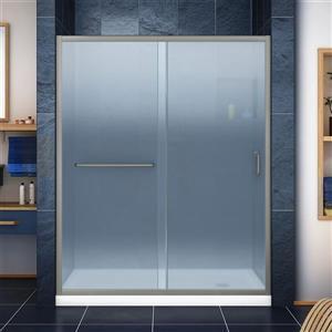 Ensemble de douche avec cadre Infinity-Z de DreamLine, 30 po x 60 po, nickel