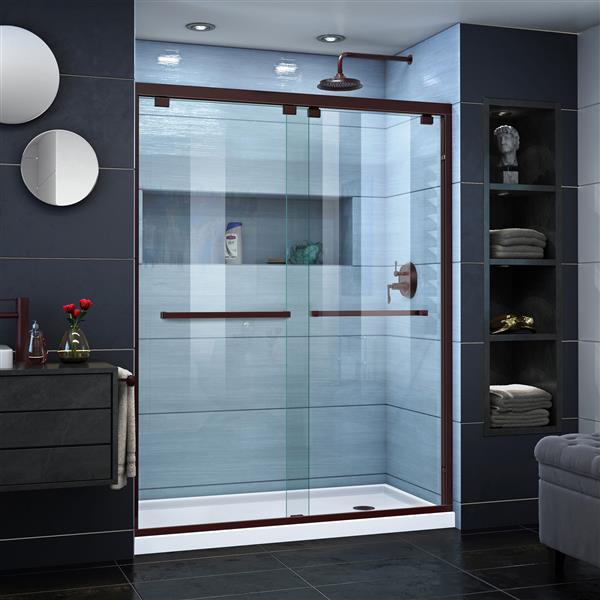 DreamLine Encore Alcove Shower Kit - 36-in x 60-in - Right Drain - Bronze