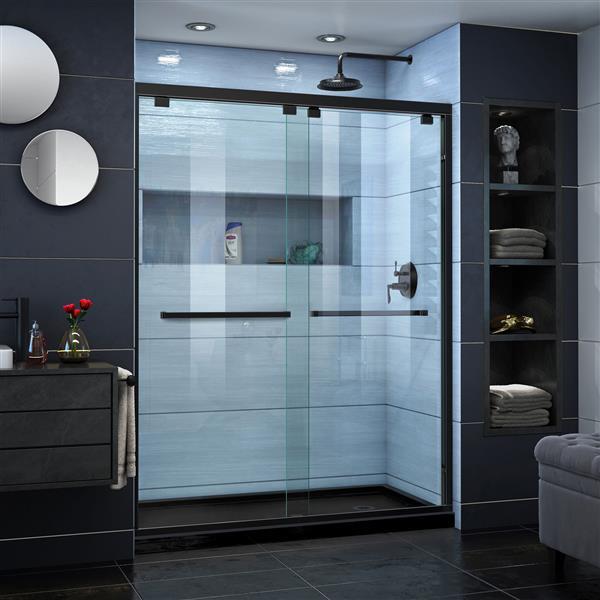 DreamLine Encore Alcove Shower Kit - 30-in x 60-in - Right Drain - Black