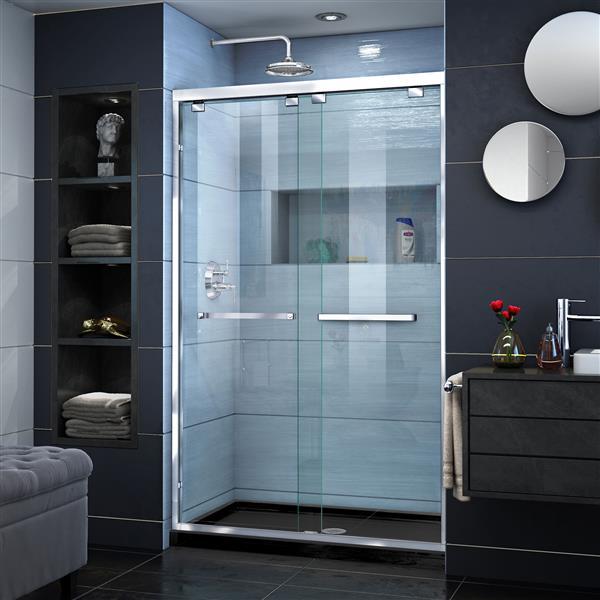 DreamLine Encore Alcove Shower Kit - 34-in - Semi-Frameless - Chrome