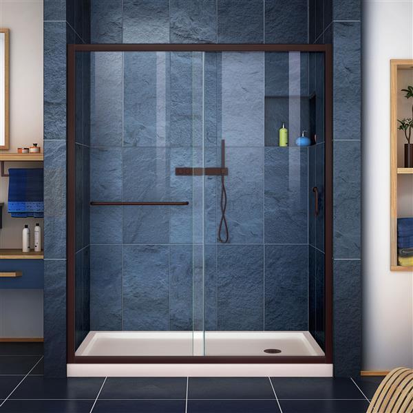 DreamLine Infinity-Z Alcove Shower Kit - 30-in x 60-in - Dark Bronze