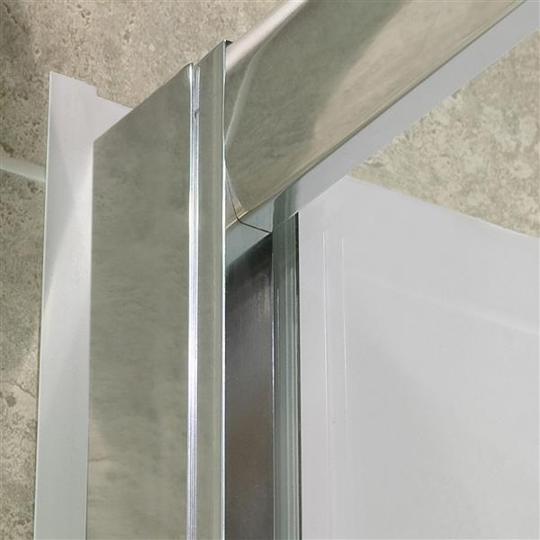 DreamLine Visions Alcove Shower Kit - 34-in- Left Drain - Brushed Nickel