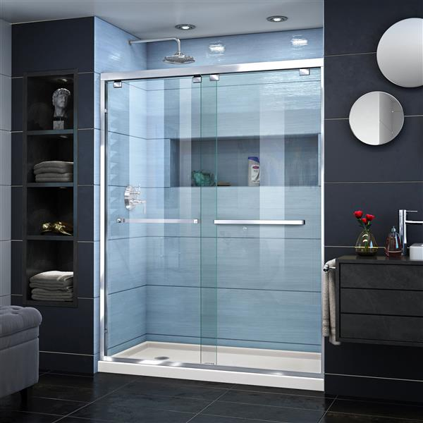 DreamLine Encore Alcove Shower Kit - 34-in - Acrylic Base - Chrome