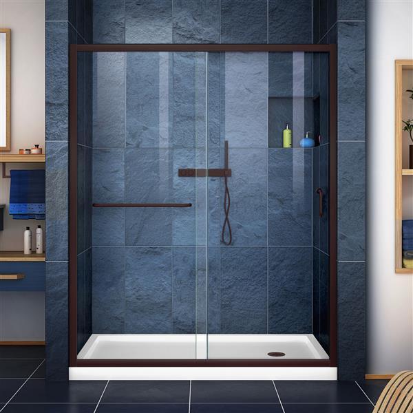 DreamLine Infinity-Z Alcove Shower Kit - 30-in - Right Drain - Bronze