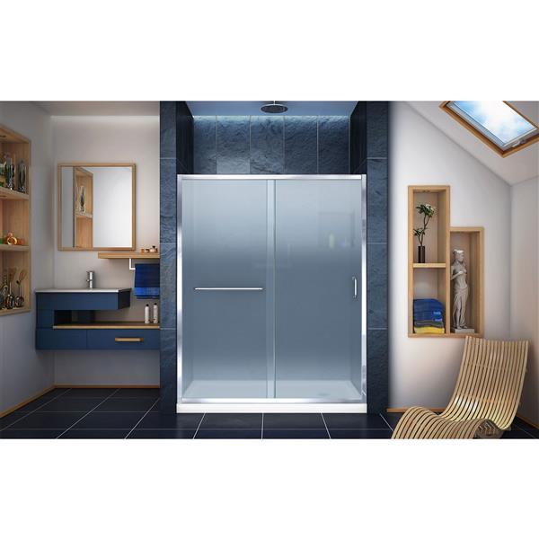 DreamLine Infinity-Z Alcove Shower Kit - 34-in - Right Drain - Chrome