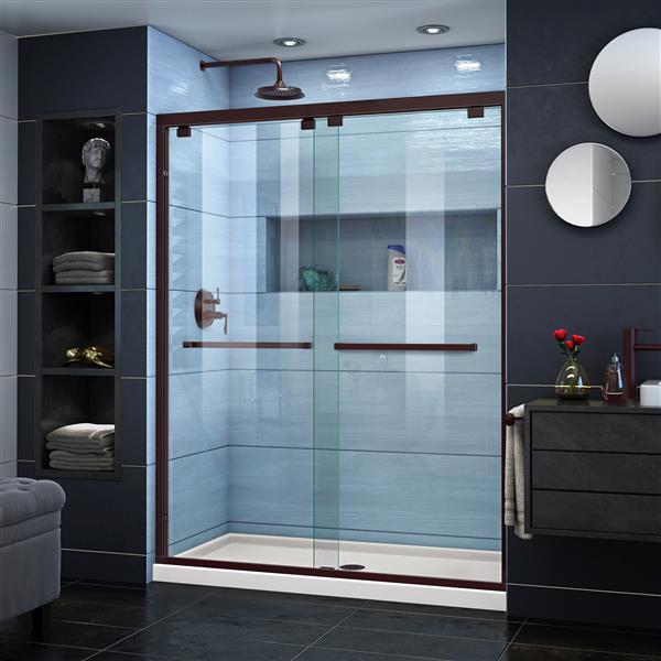 DreamLine Encore Alcove Shower Kit - 34-in x 60-in - Center Drain - Bronze