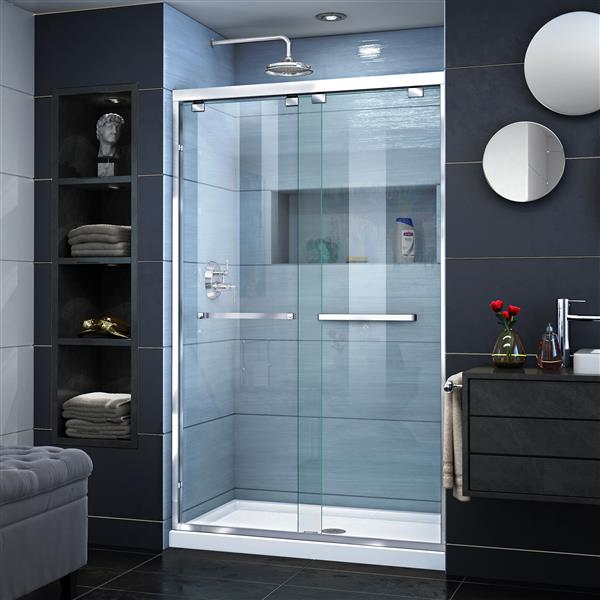 DreamLine Encore Alcove Shower Kit - 36-in x 48-in - Center Drain - Chrome